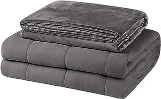 EUGAD Gewichtsdecke für Erwachsene, Therapiedecke mit abnehmbaren Warm Mikrofaser-Bezüge, Grau 5kg Schwere Decke 120x180cm - 100% Baumwolle mit Glasperlen, Anti Stress und für besseren Schlaf