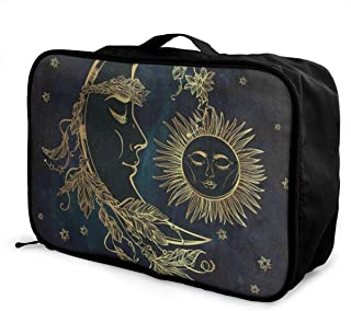 Travel Bags Ethnic Star Flower Moon Sun Face Portable Suitcase Designer Trolley Handle Luggage Bag