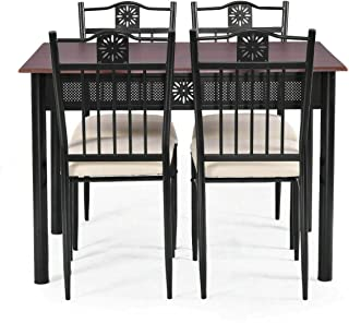 Dining Set Wood Metal Table and 4 Chairs Kitchen Breakfast Furniture 5 Piece