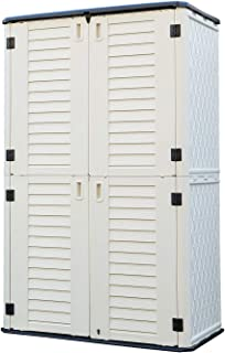 HOMSPARK Vertical Storage Shed Weather Resistance, Double-layer Outdoor Storage Cabinet Multi-purpose for Backyards and Pa...