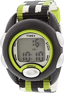 Timex Boy's Time Machines TW7C13000 Black Ostrich Leather...