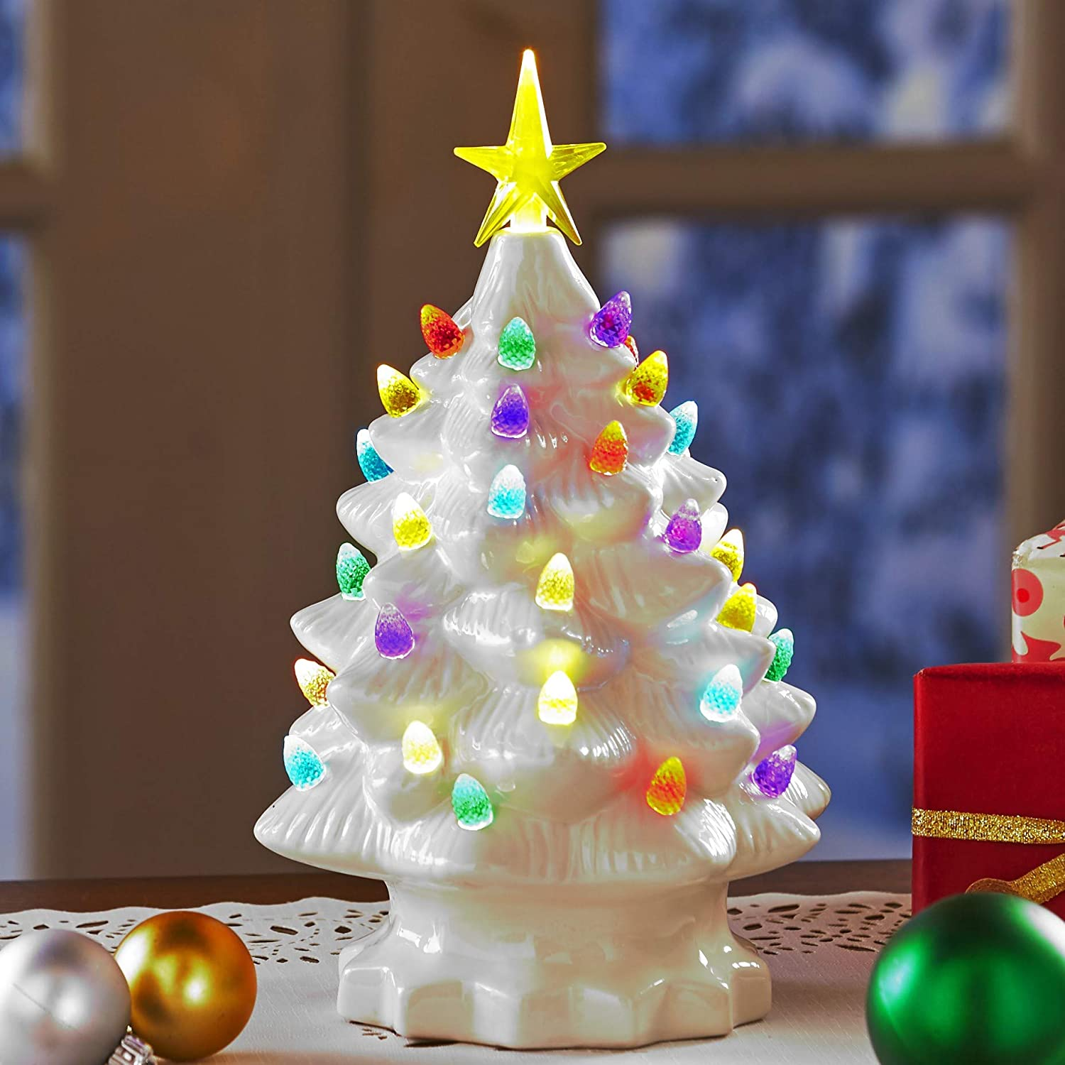 The 5 ☆ very Max 62% OFF popular Lakeside Collection Retro Ceramic Christmas - Tabletop Tree