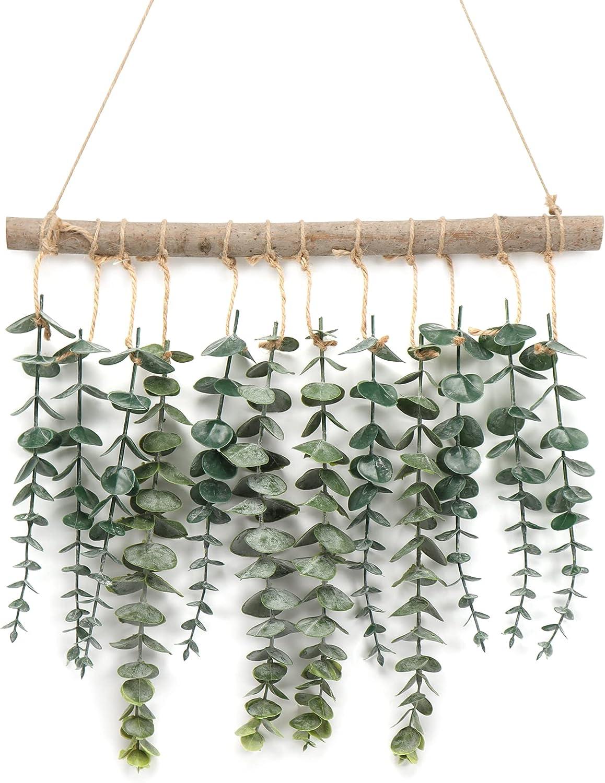 Artificial Eucalyptus Wall Decor   Eucalyptus Vines Wall Hanging Plants with Wooden Stick Decor - Hanging Eucalyptus Fake Vines Greenery for Boho Home Room Wall Decor,Green