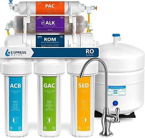 Express Water - ROALK5D Reverse Osmosis Alkaline Water Filtration System – 10 Stage RO Water Filter with Faucet and T...