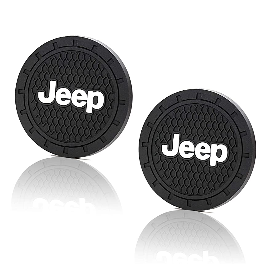 Seven Sparta Auto Coasters Fits Most of Jeep Grand Cherokee, Compass, Patriot, etc. and 2.75'' Diameter Silicone Cup Holder Coasters, Car Coasters, 2 Pack