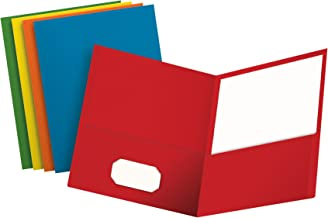Oxford Two-Pocket Folders, Textured Paper, Letter Size, Assorted Colors: Red, Light Blue, Orange, Yellow, Green, Box of 50, Holds 100 Sheets (67613)