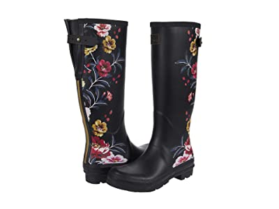 Joules Welly Print (Black Border Floral) Women