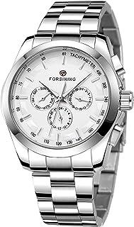 FORSINING Men's Waterproof Analog Quartz Watch Calendar Automatic Self-Wind Clock with Stainless Steel Belts Wristwatch