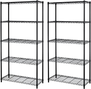 5-Shelf Steel Wire Tier Layer Shelving 72x36x14 Storage Rack Black 2pcs