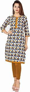 METRO-FASHION Women Triangle Print Straight Cotton Kurta. (XXX-Large, Brown)