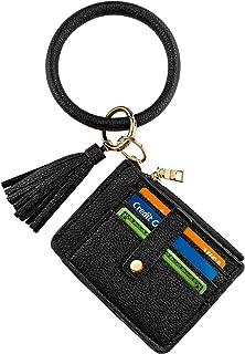 Circle Bangle Leather Keychain Wallet ID Card Holder Keyring Wristlet Bracelet Key Ring Chain Tassel Purse Women Girls
