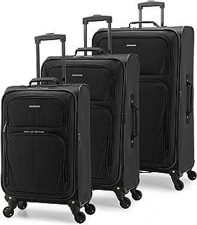 U.S. Traveler Aviron Bay Expandable Softside Luggage with Spinner Wheels, Black, 3-Piece Set