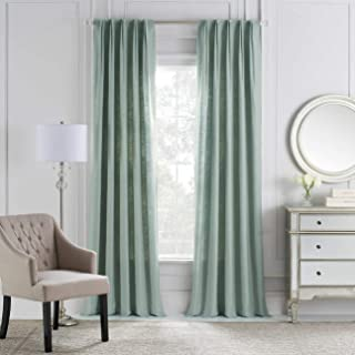 Malta Cambria Rod Pocket/Back Tab Window Curtain Panel in Seaside 25 Inches Wide x 84 Inches Long
