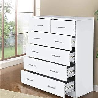 Artiss 6 Drawer Tallboy Bedroom Storage White