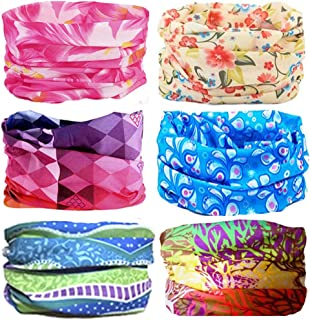 KALILY 12PCS/9PCS/6PCS Headband Bandana - Versatile Sports & Casual Headwear –Multifunctional Seamless Neck Gaiter, Headwrap, Balaclava, Helmet Liner, Face Mask for Camping, Running, Cycling, Fishing etc (Flower Pack A)