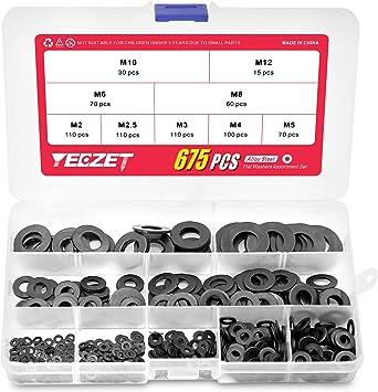 Yunnyp Brass Flat Washers 360pcs,M2 M2.5 M3 M4 M5 M6 M8 M10 Brass Washer Metal Flat Gasket Ring Kit