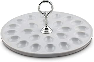 Vagabond House Stoneware Deviled Egg Tray with Pewter Classic Ring Handle; 13