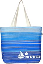 EcoRight Jute Canvas Tote Bag with zipper - Reusable 100% EcoFriendly Large Size Printed Blue Ocean (Natural) 0501A11