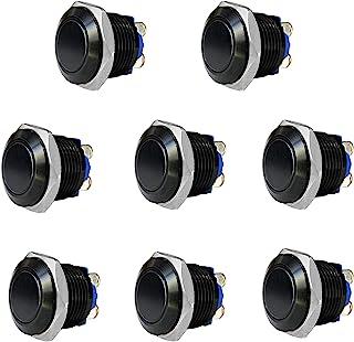 Thlevel 8 Piezas 16mm Momentáneo Pulsador de Metal con LED Acero Inoxidable Impermeable Interruptor de Botón de Encendido/...