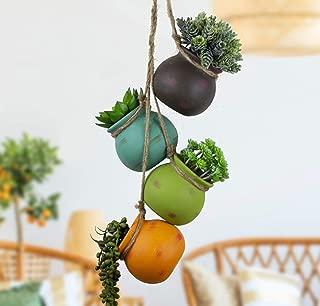 Best Pottery Hanging Succulent Planters | Multicolor Ceramic 4 Pot Set | Ceiling & Wall Planter | Pots for Plants, Flowers & Cactus | Perfect Decoration for Indoor & Outdoor