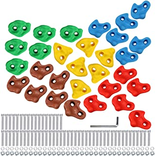 Multi-Colored Pack of 6 Rock Climbing Holds for Kids and Adults,Large Rock Wall Grips for Indoor and Outdoor Play Set,Build Rock Climbing Wall for Playground DIY Climbing Wall Grip Kits Single hole