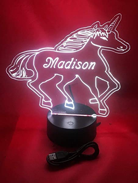 Unicorn Light Up Lamp LED Personalized Table Lamp Our Newest Feature It S Wow With Remote 16 Color Options Dimmer Free Engraved Great Gift