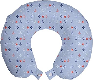 Lunarable Blue Nautical Travel Pillow Neck Rest, Continuing Pattern of Dotted Waves Anchor and Starfish, Memory Foam Travelin