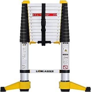 Lionladder 12.5FT EN131-6 Telescoping Ladder, One-Button Retraction, Pro Aluminum Ladder, 330 Lbs Capacity