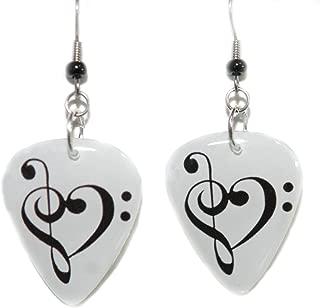 Treble Bass Clef Heart Guitar Pick Dangle Earrings (GP001)