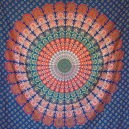 momomus Tapiz Mandala Hippie- 100% Algodón, Grande, Multiuso - Pareo/Toalla de Playa Gigante - Manta de Picnic Ligera o Alfombra Antiarena XXL - Azul, 210x230 cm