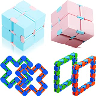 2 Pieces Infinity Cube Fidget Trinket 4 Pieces 24 Link Wacky Track Snap for Anxiety Relief and Kill Time, Finger Sensory I...