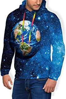 GULTMEE Men's Hoodies Sweatershirt, Outer View of Planet Earth in Solar System with Stars Life on Globe Themed Image,5 Size