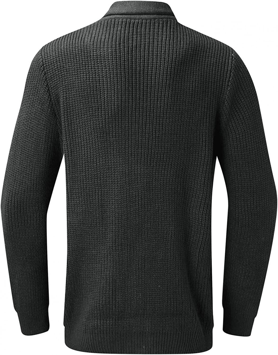 LEIYAN Mens Long Sleeve Waffle Knit Sweater Jackets Lapel Collar Button Down Casual Tunic Jumpers Coats Tops with Pockets