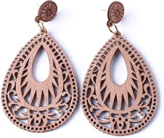 LALANG Water Drop Wooden Earrings Hollow Carved Dangle Ear Jewelry For Women
