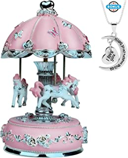 J JHOUSELIFESTYLE Unicorn Carousel Music Box, Musical Carousel Horse Rotate as Music Plays, Great Merry Go Round Music Box...