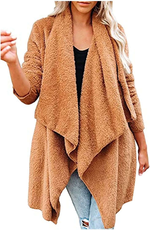 Amaeen Coats for Womens Fashion Solid Color Jacket Plush Cardigan Warm Coat Loose Long Sleeve Soft Casual Overcoat