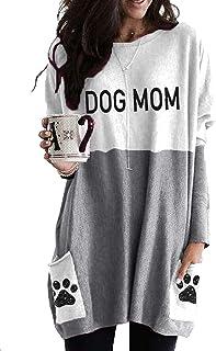 Dog Mom Sweatshirt Plus Size Dog Mom Pullover Long Sleeve...