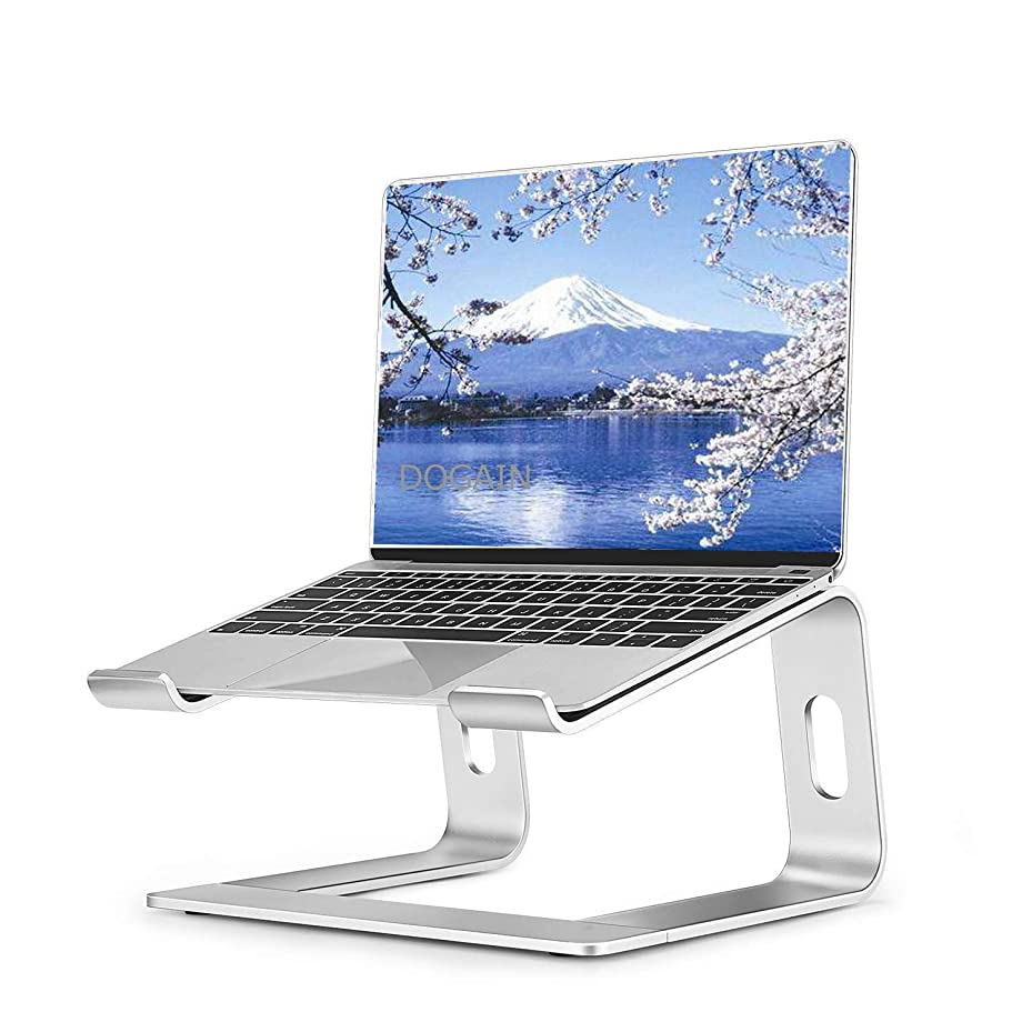 盟主マイクロフォン遊具ノートパソコン スタンド ラップトップ スタンド アルミ 取り外し可能 頸椎負担軽減 Apple Samsung HP 等に対応 (シンプルスタンド)
