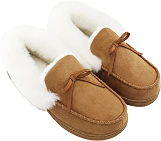 5a449a0347d HomeIdeas Women s Faux Fur Lined Suede House Slippers