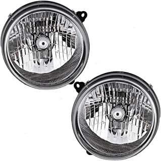 Driver and Passenger Headlights Headlamps Replacement for Jeep SUV 55155809AB 55155808AB AutoAndArt