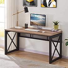 BON AUGURE Industrial Office Computer Desk, Wood and Metal Writing Gaming Desk, Workstation Desk for Home Office (60 Inch, Rustic Oak)