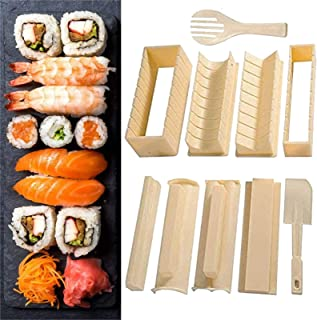 Sushi Making Kit, Deluxe Edition DIY Sushi Set, 10 Pieces Plastic Sushi Maker Tool, Professional Sushi Mold Set for Home Restaurant Hotel (Beige)