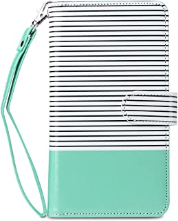 ULAK iPhone 6s Case Wallet, iPhone 6 Wallet Case, iPhone 6S Flip Case Synthetic Leather Folio 9 Card Multi-Slots for Women for Apple iPhone 6s/6 4.7 Inch (Minimal Mint Stripes)