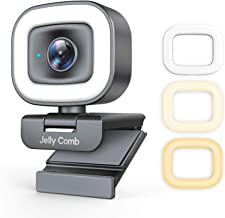 60FPS Webcam with Ring Light and Dual Microphone, Jelly Comb 1080P Autofocus Streaming Web Camera with Privacy Cover for D...
