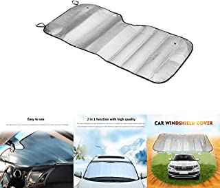 Sun Light Reflecting Surface Snow Frost Guard No More Scraping Heat Cold Windproof HOMEYA Windshield Sun Shade Half Top Snow Cover 70 x 59 Sizes for All Vehicles Elastic Strap Attaches Ice