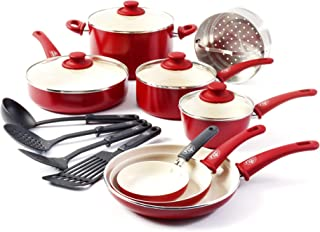GreenLife Soft Grip 16pc Ceramic Non-Stick Cookware Set, Red (Renewed)