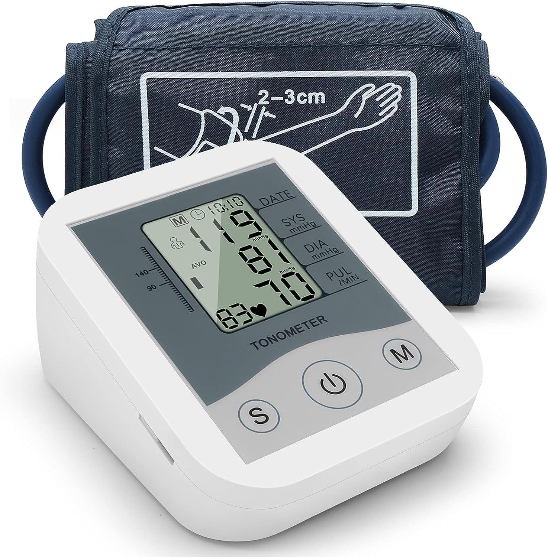 Abarich Tensiometro de Brazo,Tensiometro Digital con Gran Pantalla LCD,2x90 Memoria,Brazalete 22-42cm,Blanco