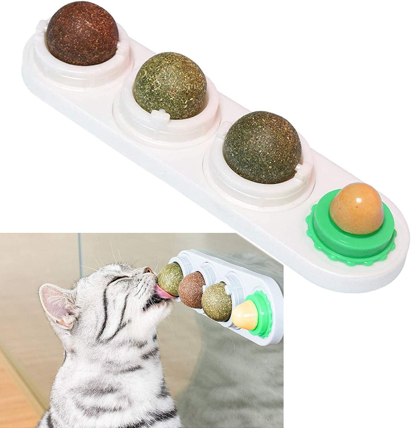 Catnip Balls 4 Edible Kitty Toys Teeth for Lick Cats overseas Deluxe Cleaning