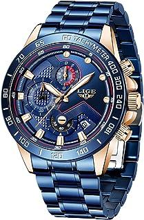 LIGE Watch for Men Fashion Sport Military Steel Waterproof Date Chronograph Analog Quartz Black Wrist Watch Men Brand Watch Casual