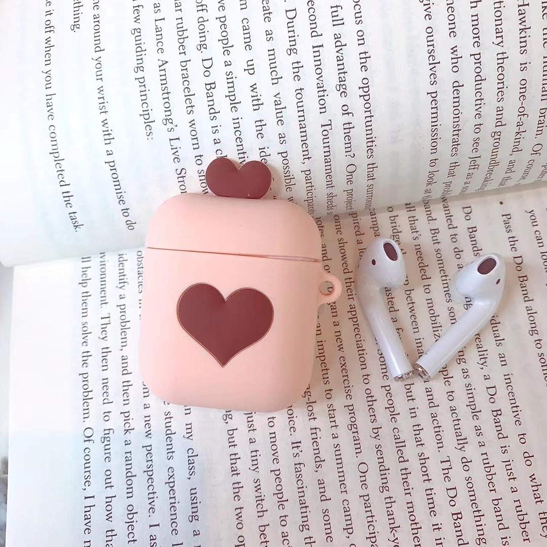 スチール腐敗プロペラPINGF ワイヤレスヘッドホンケース 該当するAirPodカバーアップルワイヤレスヘッドセットシリコンケースかわいいフレッシュラブ抹茶グリーン女性 (Color : Rose pink, Size : AirPods)